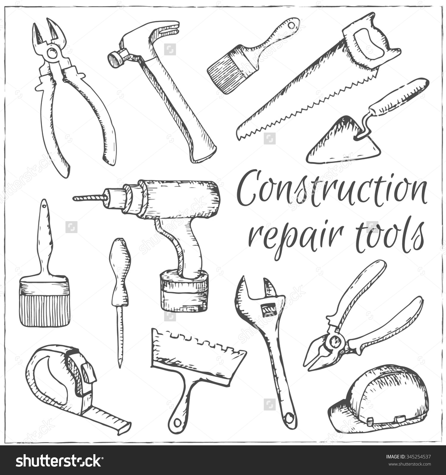 1500x1600 Stock Vector Vector Hand Drawn Construction And Repair Tools Set