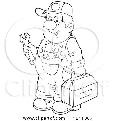 450x470 Cartoon Of An Outlined Chubby Mechanic Man Holding A Tool Box
