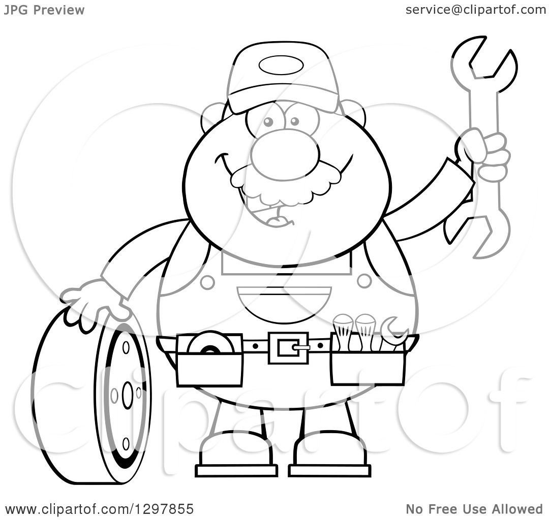1080x1024 Clipart Of A Cartoon Black And White Male Mechanic Wearing A Tool
