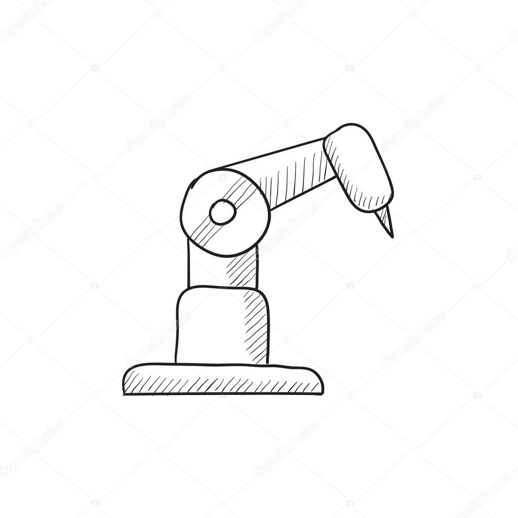 1024x1024 Industrial Mechanical Robot Arm Sketch Icon. Stock Vector