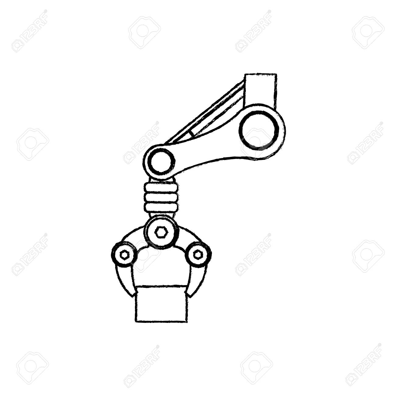 1300x1300 Robotic Arm Technology Icon Vector Illustration Graphic Design