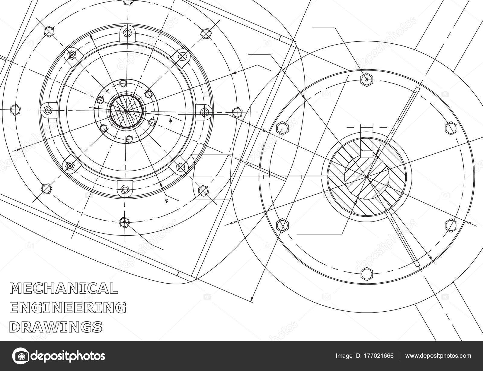 1600x1231 Mechanical Engineering Drawings Vector Background White Stock