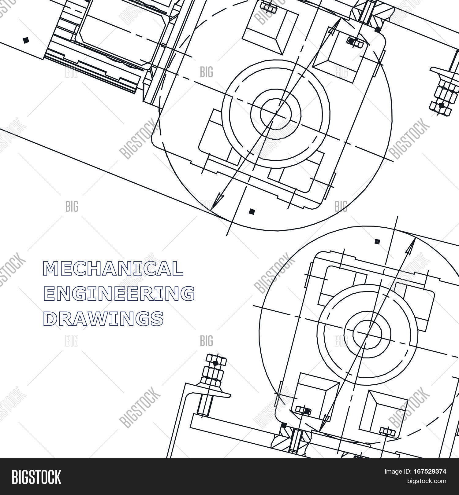 1500x1620 Mechanical Engineering Drawing. Vector Amp Photo Bigstock