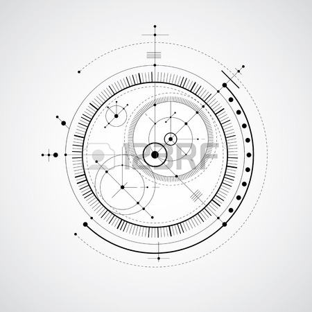 450x450 Mechanical Scheme, Black And White Vector Engineering Drawing