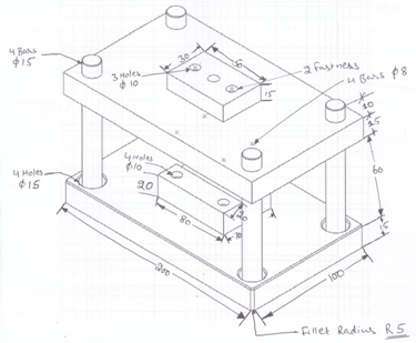 375x309 Die Press Assembly Drawing, Mechanical Engineering