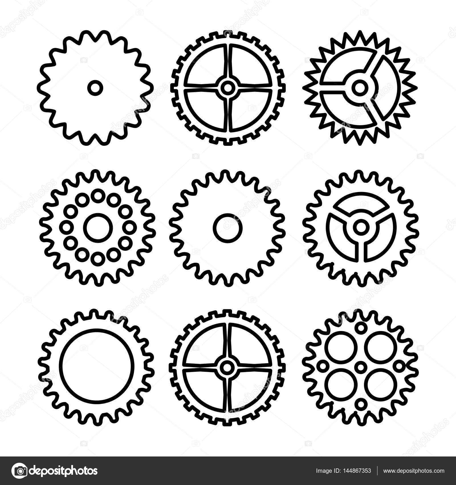 1600x1700 Vector Clock Gears. Outline Icons Set Clock Or Machine Wheel
