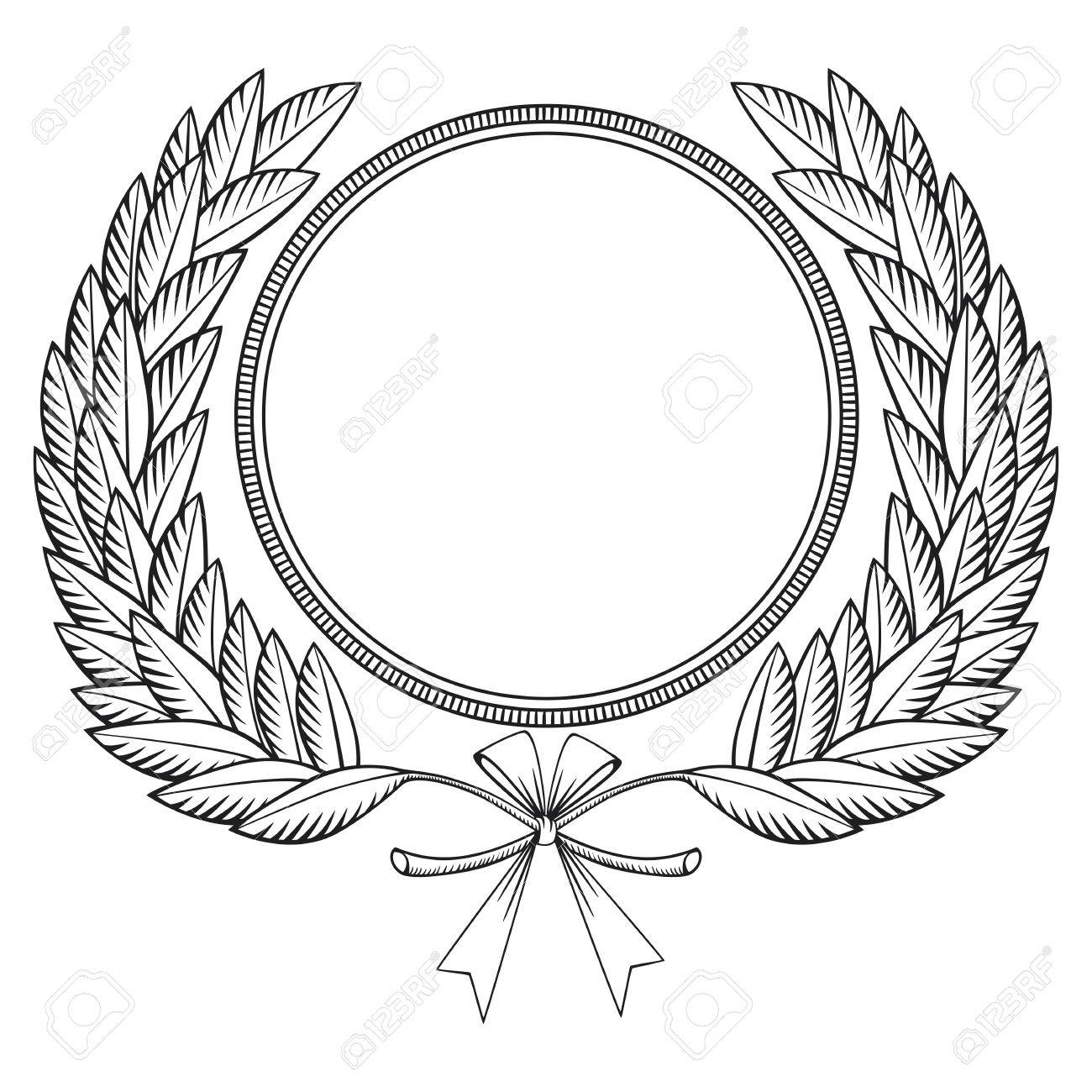 1300x1300 Laurel Wreath With Medal And Bow Woodcut Style Royalty Free