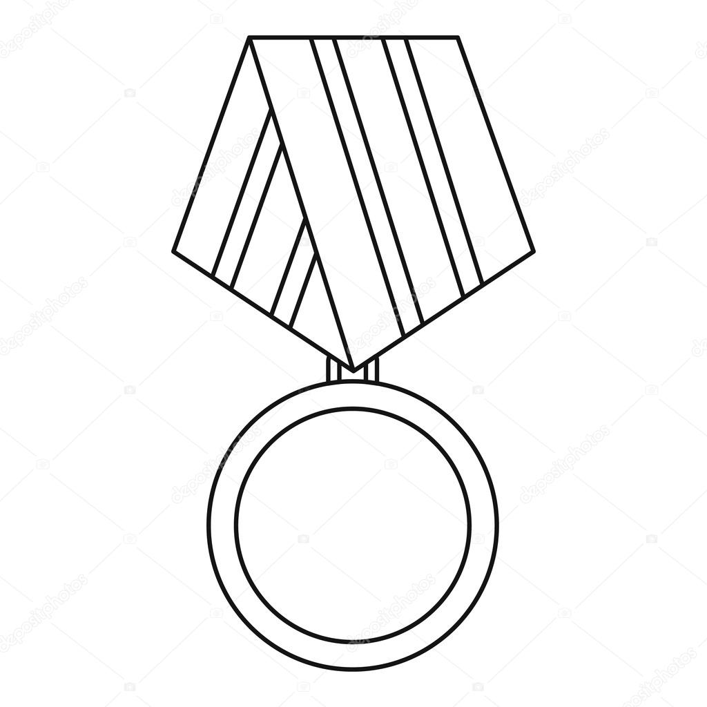 1024x1024 Military Medal Icon, Outline Style Stock Vector Ylivdesign