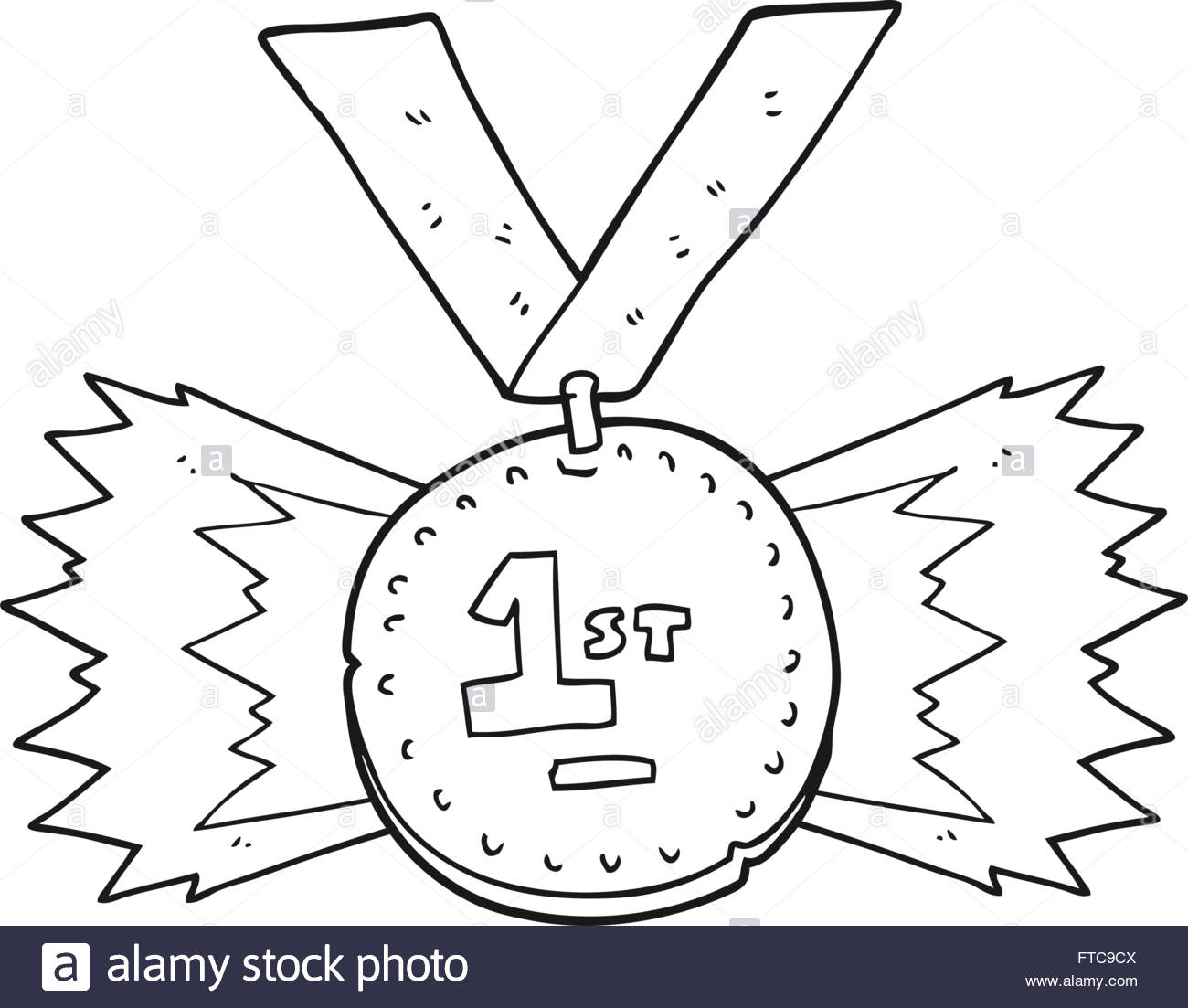 1300x1103 Freehand Drawn Black And White Cartoon First Place Medal Stock