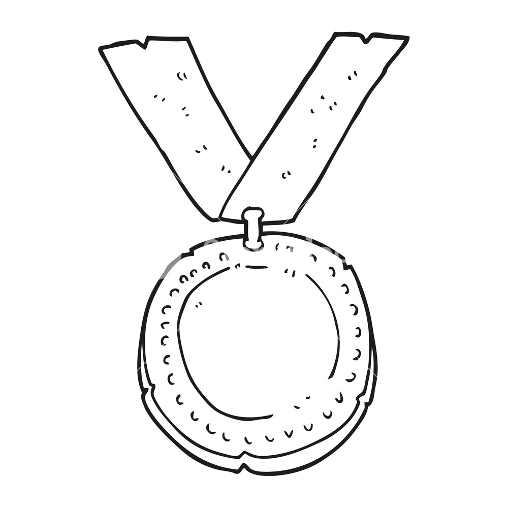 1000x1000 Freehand Drawn Black And White Cartoon Medal Royalty Free Stock