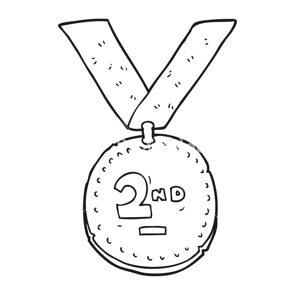 1000x1000 Freehand Drawn Black And White Cartoon Sports Medal Royalty Free
