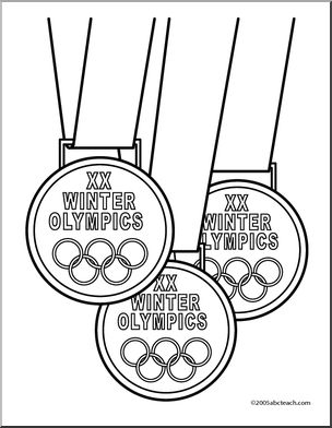304x392 Coloring Page Winter Olympic Medals (Bampw)