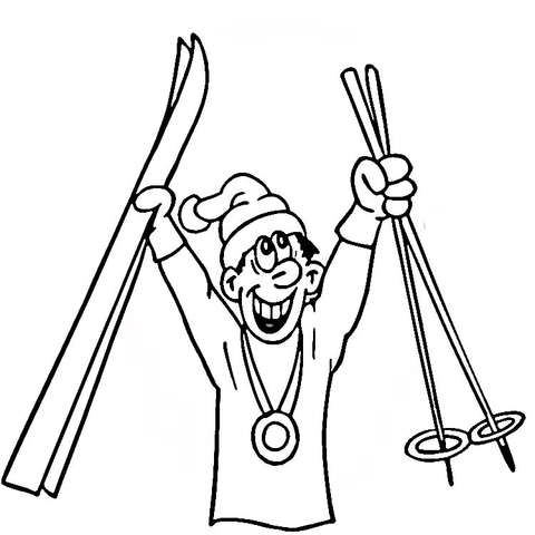 480x480 Medal For Skiing Coloring Page Free Printable Coloring Pages