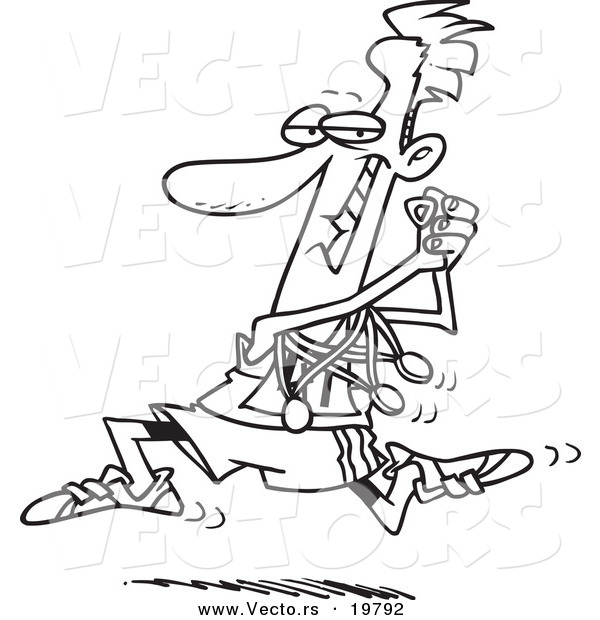 600x620 Vector Of A Cartoon Runner Sporting His Medals