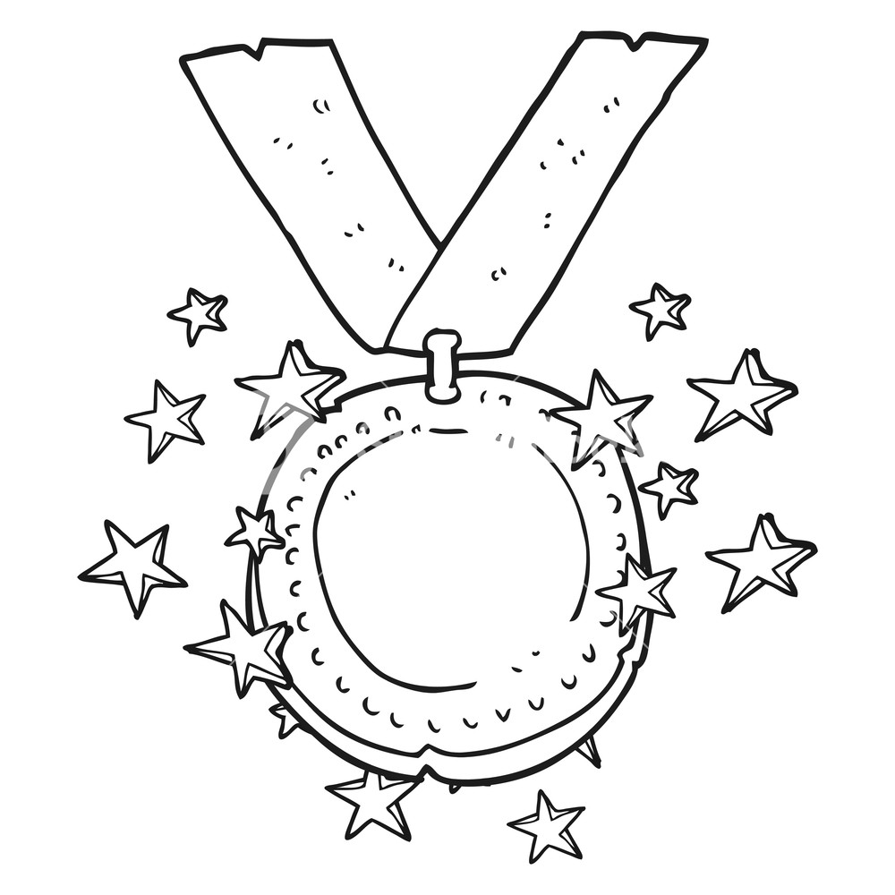1000x1000 Freehand Drawn Black And White Cartoon Sparkling Gold Medal