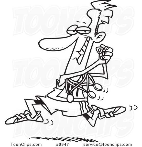 581x600 Cartoon Black And White Line Drawing Of A Runner Sporting His