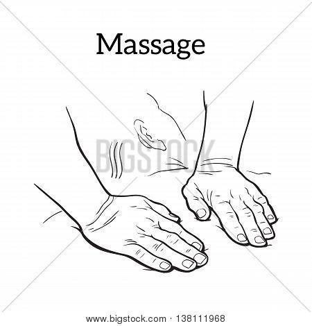 450x470 Hands Body Massage, Sketch Image Amp Photo Bigstock