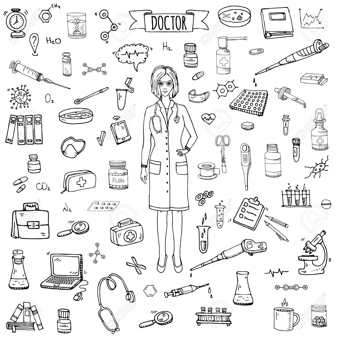 1300x1300 Hand Drawn Doodle Doctor Icons Set Vector Illustration Sketch