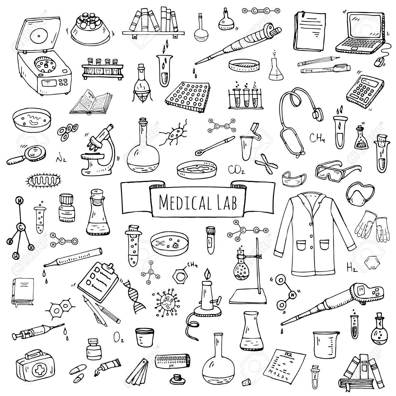1300x1300 Hand Drawn Doodle Medical Laboratory Icons Set. Vector