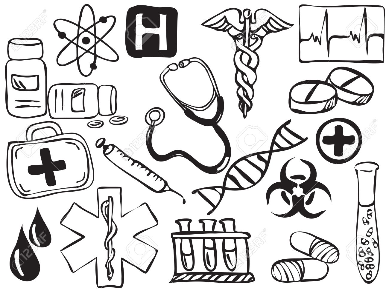 1300x975 Medical And Pharmacy Icons Drawing