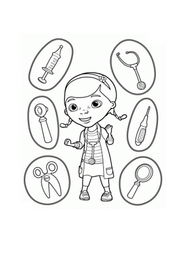 600x834 Doc Mcstuffins And Medical Equipment Coloring Page
