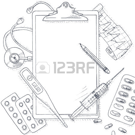 450x450 Medical And Health Background. Medical Equipment Frame. Healthcare