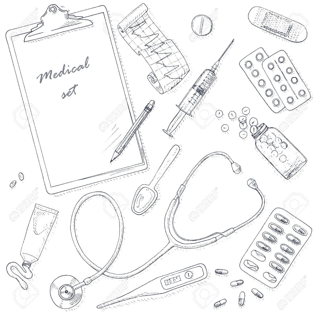 1300x1300 Medical And Health Set. Medical Equipment Kit. Healthcare Vector