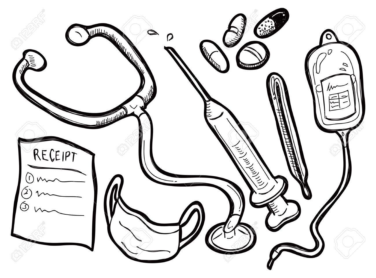 1300x961 Medical Equipment Doodle Royalty Free Cliparts, Vectors, And Stock