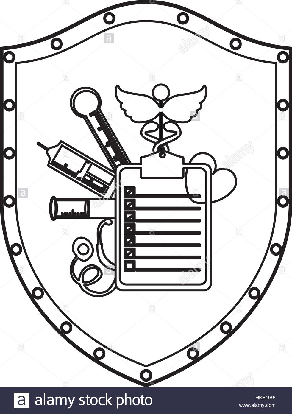 981x1390 Medical Equipment On Shield Icon Vector Illustration Graphic