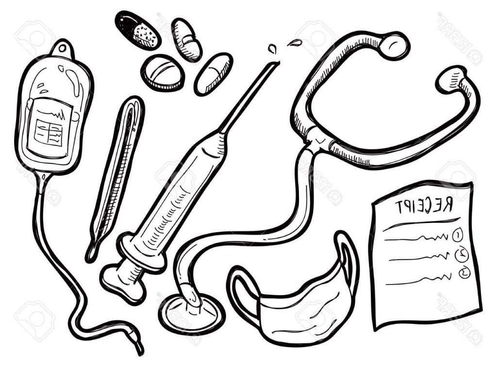 1024x757 Best Free Medical Equipment Doodle Stock Vector Library