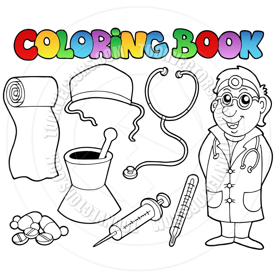 940x940 Cartoon Coloring Book Medical Collection By Clairev Toon Vectors