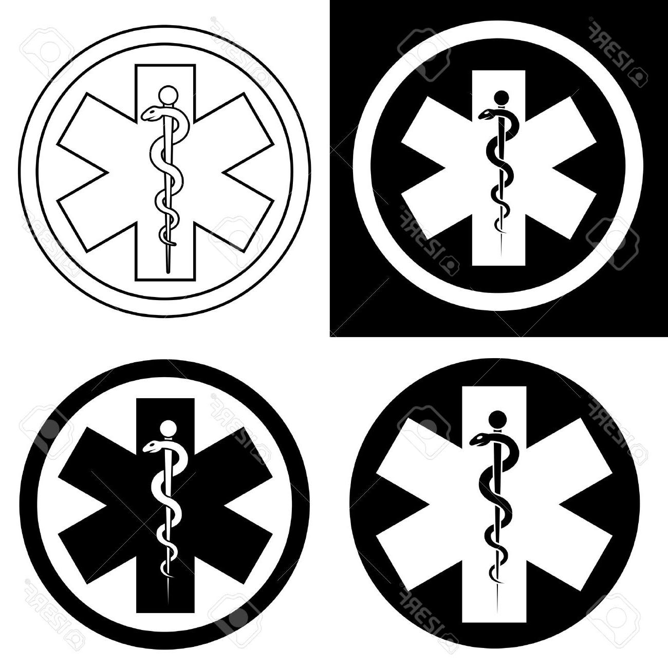 1300x1300 Best Emergency Symbol In Black White Stock Vector Medical Ems Library