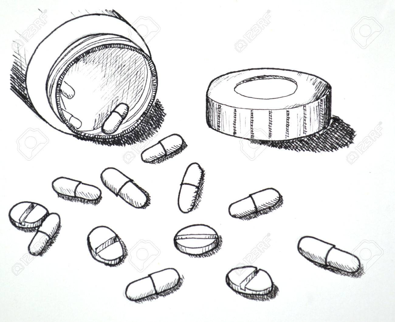 1300x1058 Hand Drawn Of Medicine Pills And Tablet.white Version. Stock Photo