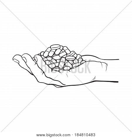 450x470 Side View Hand Holding Pile, Vector Amp Photo Bigstock