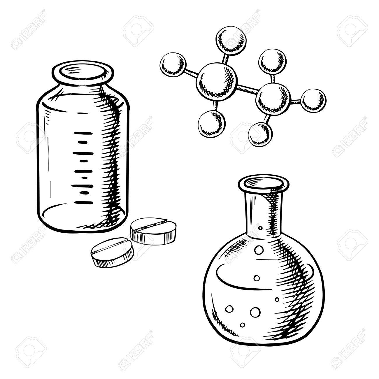 1300x1300 Laboratory Flask With Liquid Bubbles, Bottle With Pills