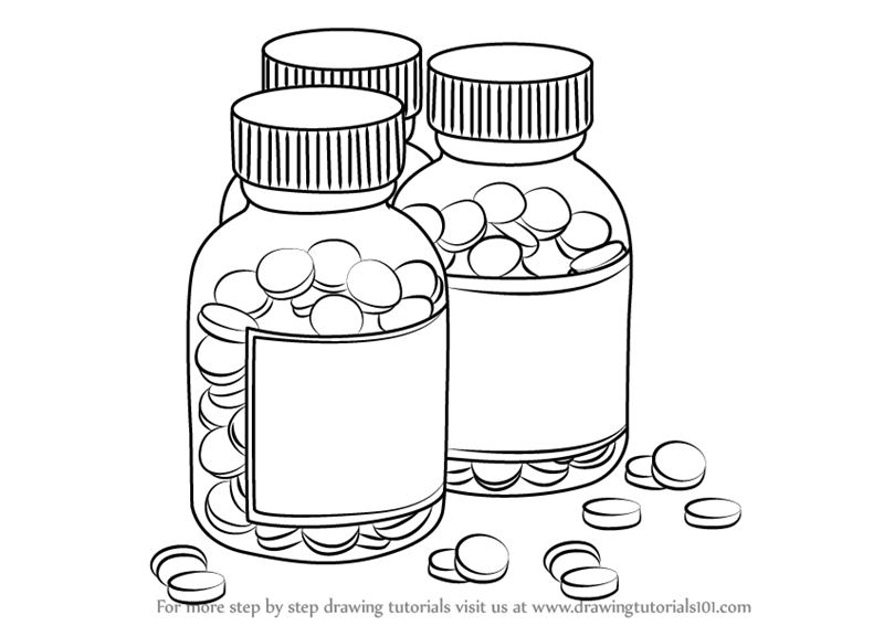 800x567 Learn How To Draw Medicine Bottles (Everyday Objects) Step By Step