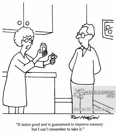 400x459 Bad Memory Cartoon Where Woman Holding Pill Bottle Says