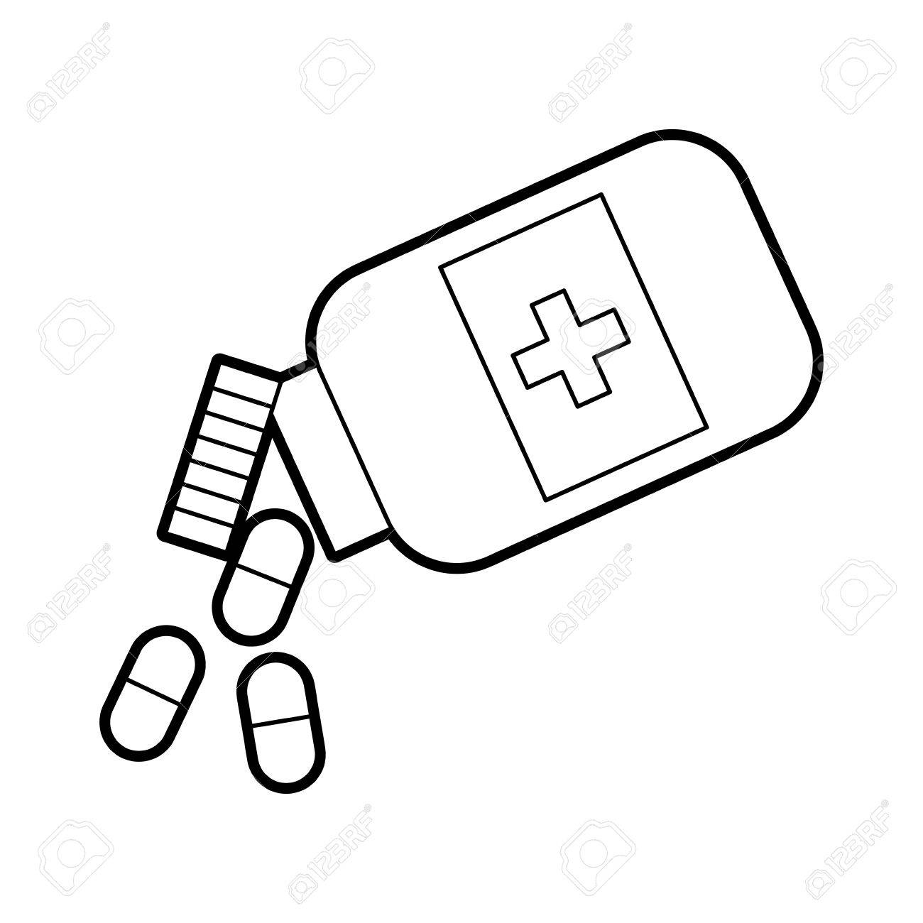 1300x1300 Bottle Drug Isolated Icon Vector Illustration Design Royalty Free