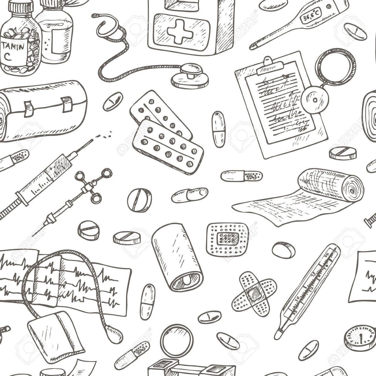 1300x1300 Health Care And Medicine Seamless Pattern. Sketches. Hand Drawing