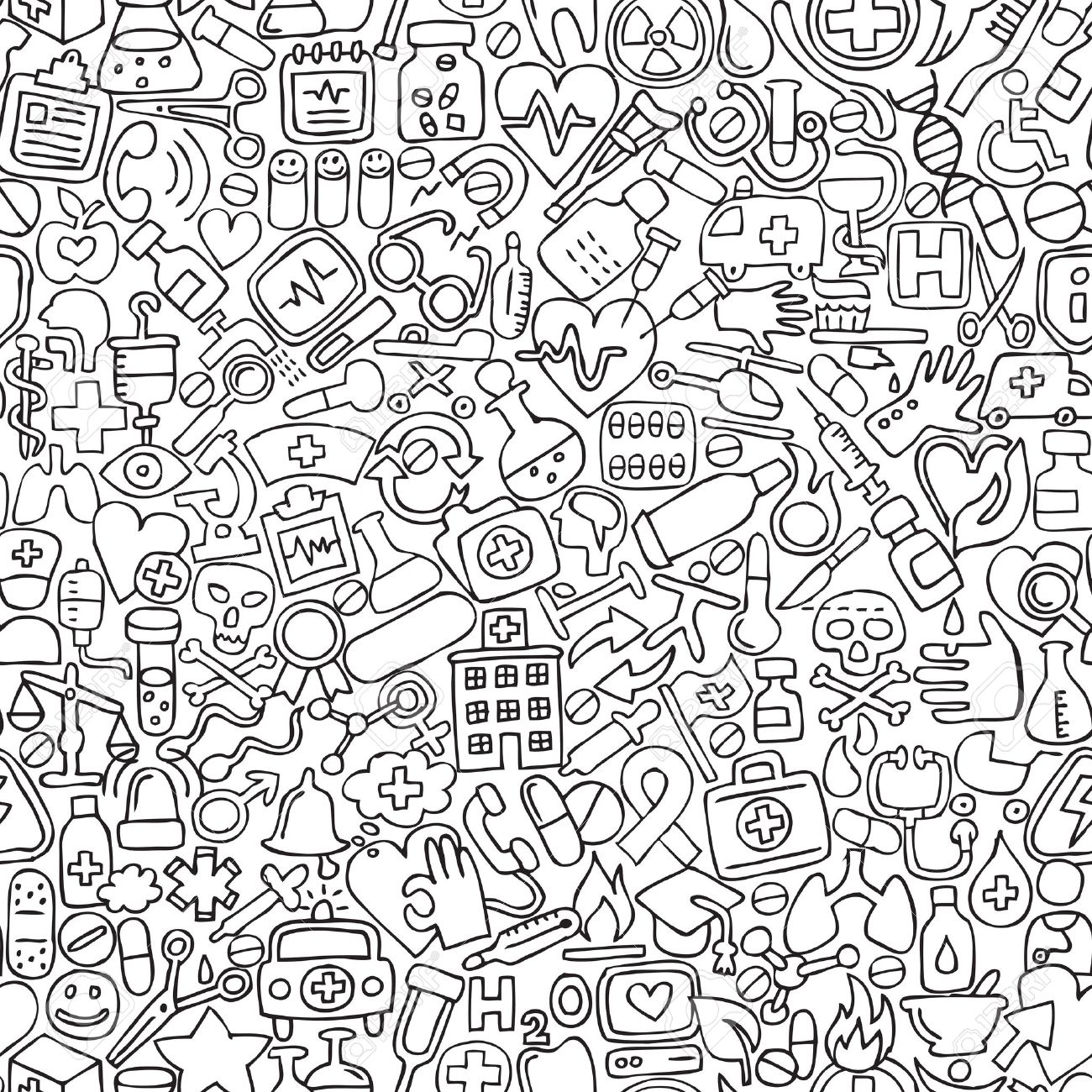 1300x1300 Medicine Seamless Pattern In Black And White (Repeated) With Mini