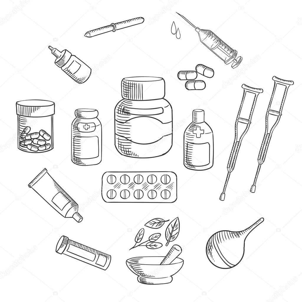 1024x1024 Medicine And Pharmacy Sketch Icon Stock Vector Seamartini