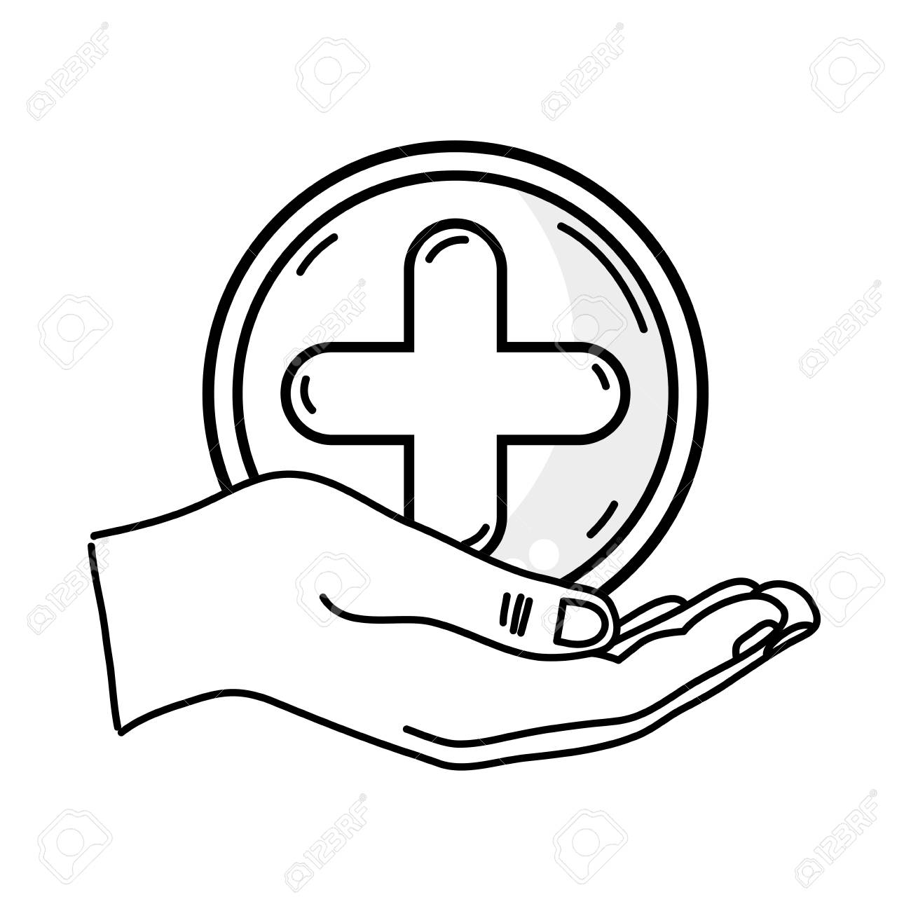 1300x1300 Outline Drawing Of Hand Holding A Cross Medicine Symbol To Help