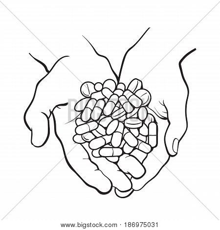 450x470 Two Cupped Hands Holding Handful, Vector Amp Photo Bigstock