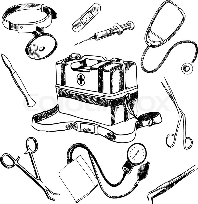 777x800 Doctor Medical Case Laboratory Accessories Sketch Icons Collection