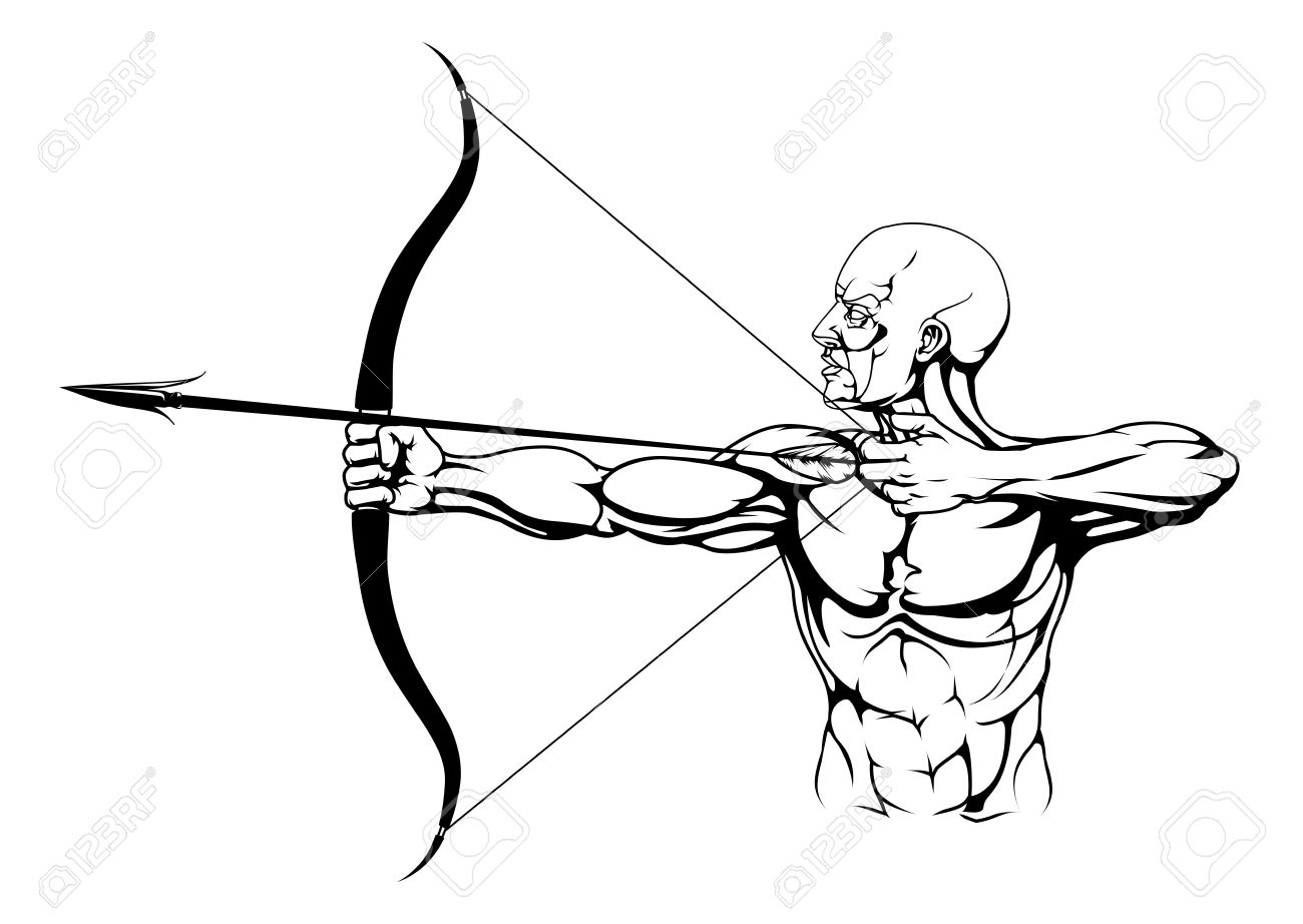 1300x922 Illustration Of Monochrome Strong Archer With Bow And Arrow