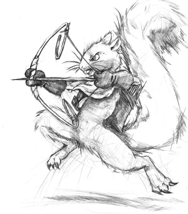 658x747 Squirrel Archer By Runde