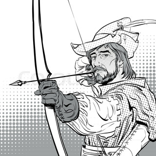320x320 Vector Monochrome Contour Medieval Wooden Bow With Arrow Isolated