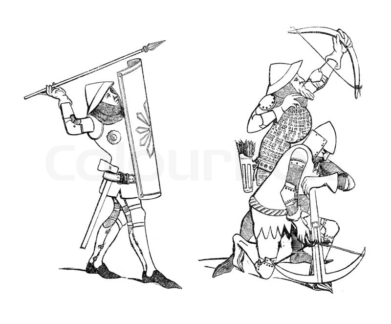 800x662 Vintage Illustration Of Medieval Soldier And Archers. Originally