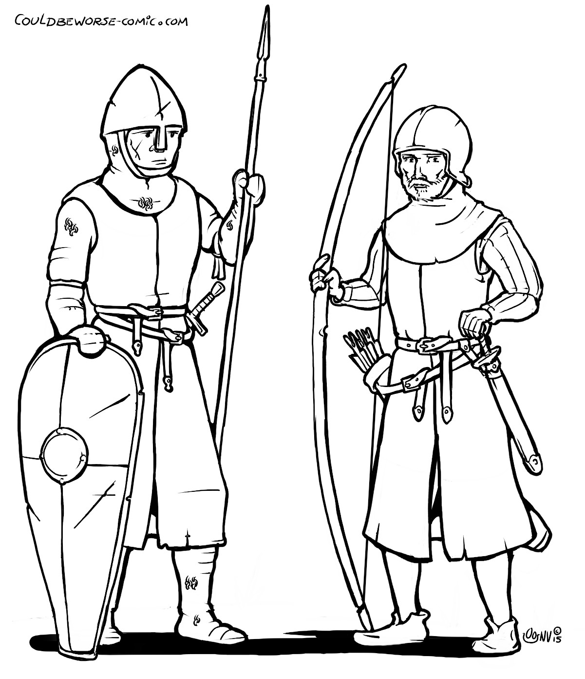 1201x1393 Fighter And Archer 11th Century, Early Middle Ages Line Art