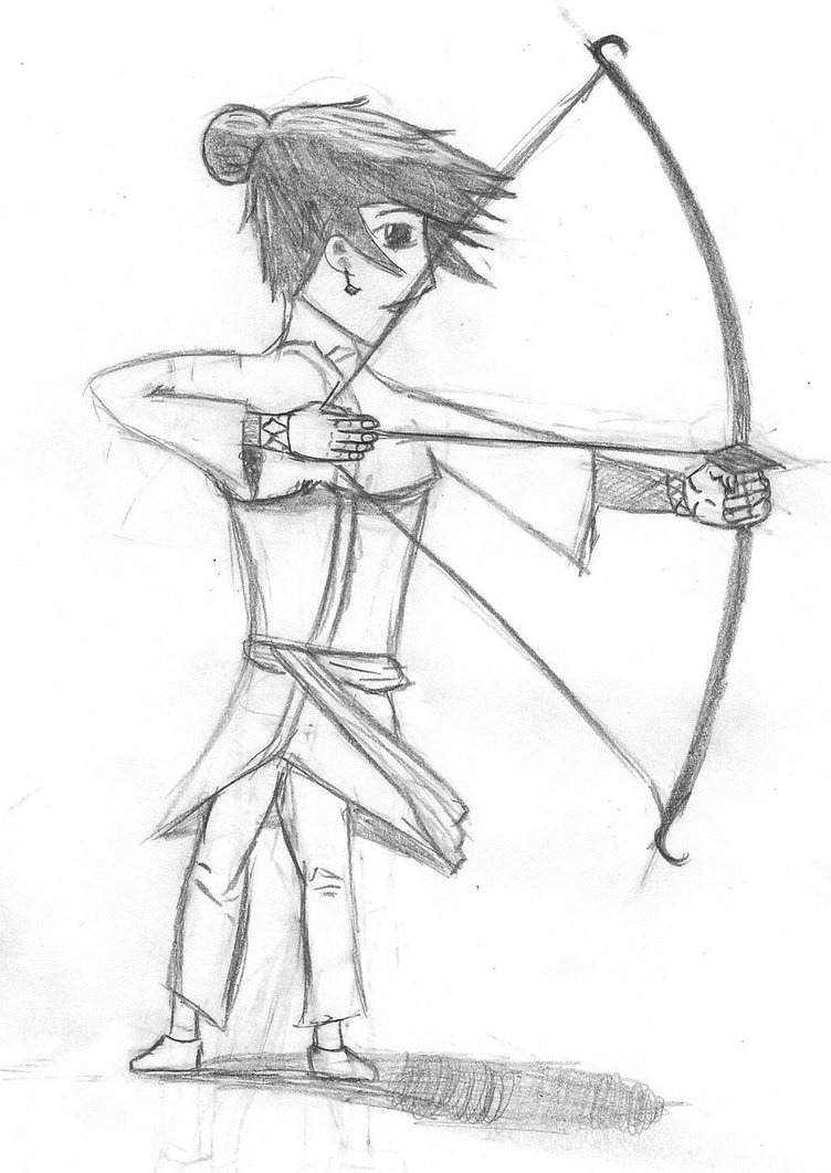 752x1061 Sketch Of A Medieval Girl Archer By Charlescool